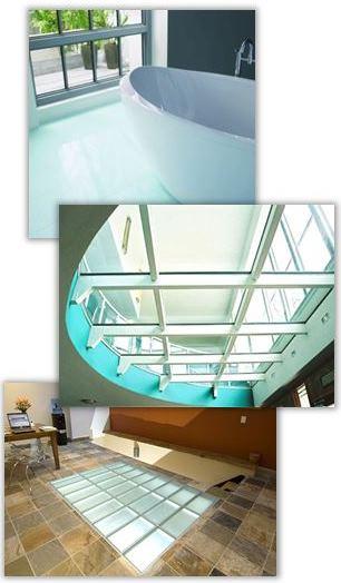 Golv av glas inomhus